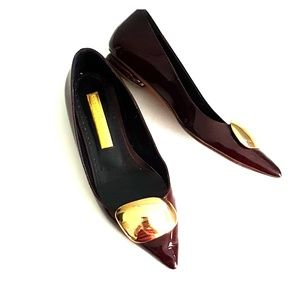 Rupert Sanderson wine color patent leather flats